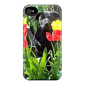 AWU DIYLJF phone case Brand New 4/4s Defender Case For Iphone (dog Among Tulips)