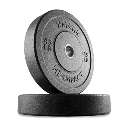 XMark HI-Impact 45 lb. Pair of Olympic Bumper Plate Weights, Virtually Indestructible Bumper Plates, Superb Craftsmanship, Weightlifting, Strength Training, Powerlifting, Conditioning