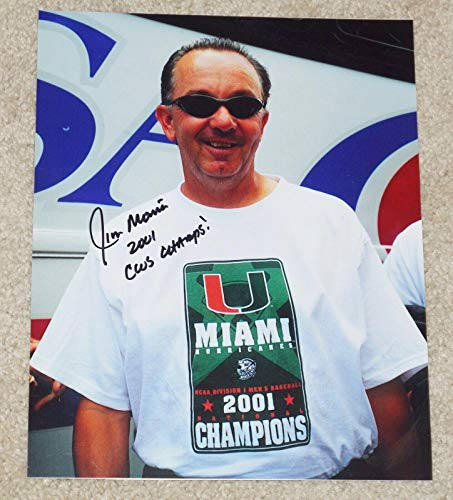 Jim Morris Autographed Photo - MIAMI HURRICANES 8x10 2001 CWS Champs - Autographed MLB -