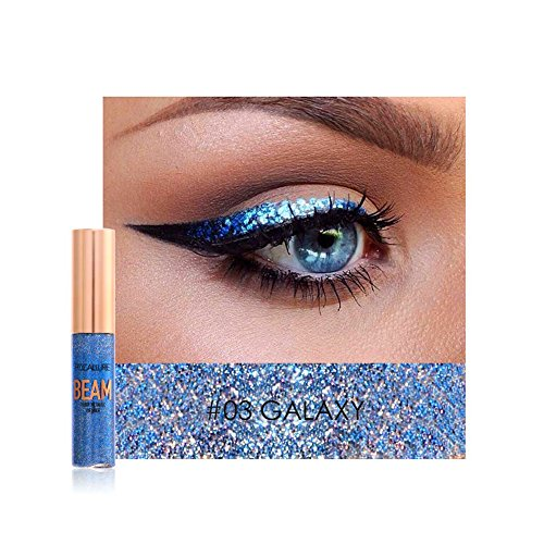 Liquid Eyeliner, Cocohot Waterproof Glitter Shimmer Eyeshadow Liquid Bling Eyeliner Highlighter Metallic Sparkling Eye Liner Liquid (A03)