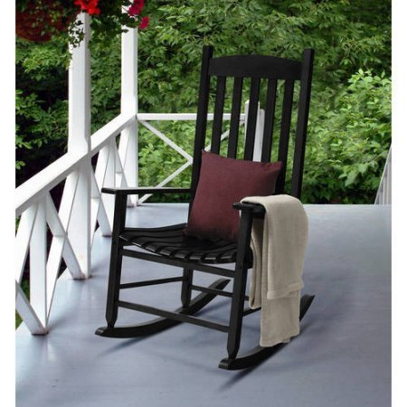 Mainstays contoured wood porch rocker black chairs for Black porch furniture