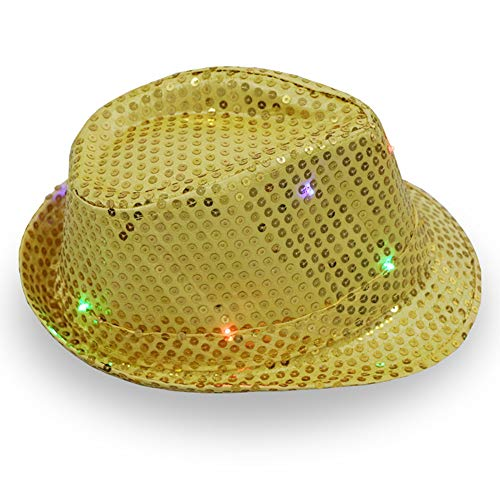 ajzdnzvr 1 Pc Women Men Led Light Up Jazz Hat, Adult Glitter Sequins Hat Costume Party Cap for Dancing Party with 9 Flashing LED Lamps (glod) (Sequin One)