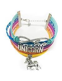 Yoko Unicorn Team Unicorn Charm On Rainbow Suede Bracelet Party Favor, Adjustable Wrist Size for Girls