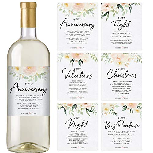 Wedding First Wine Bottle Labels | Set of 6 Floral Waterproof Labels | Wedding Gift Set and Wedding Milestones