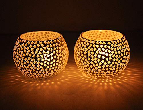 (TiedRibbons Mosaic Tealight Glass Candle Holders for Wedding, Party, Home Decorations and Gifts (Pack of 2))