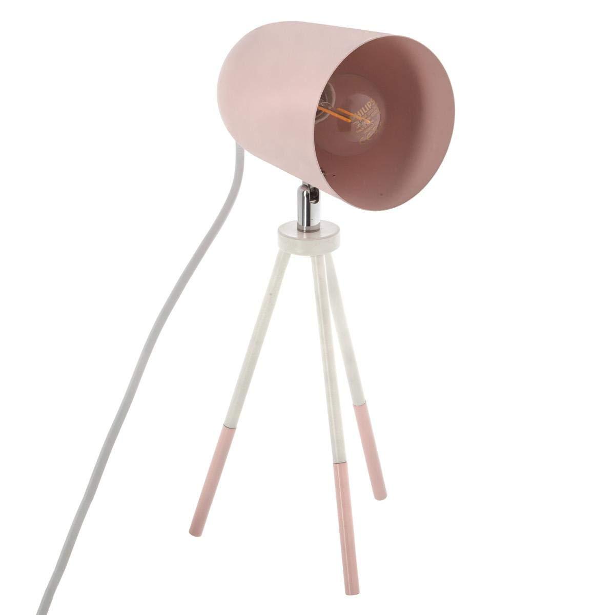 Lámpara de mesa de metal con trípode - Estilo Nórdico – Flexo inclinable (Rosa)