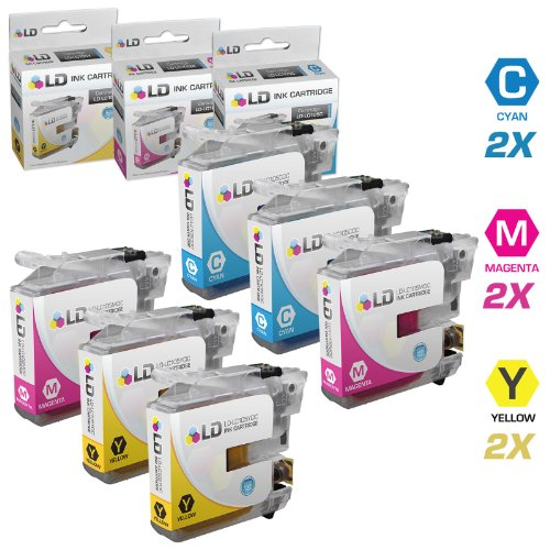 LD © Brother Compatible LC105 Set of 6 Ink Cartridges: 2 each of LC105C Cyan / LC105M Magenta / LC105Y Yellow for use in MFC-J4310DW, MFC-J4410DW, MFC-J4510DW, MFC-4610DW & MFC-J4710DW Printers