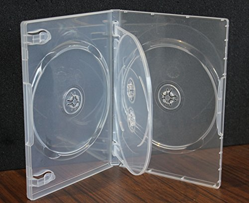 10 Pack Crystal Clear Standard Size 4 DVD Case Box 14mm Four Discs Holder W Flap (Dvd Replacement Sleeves)