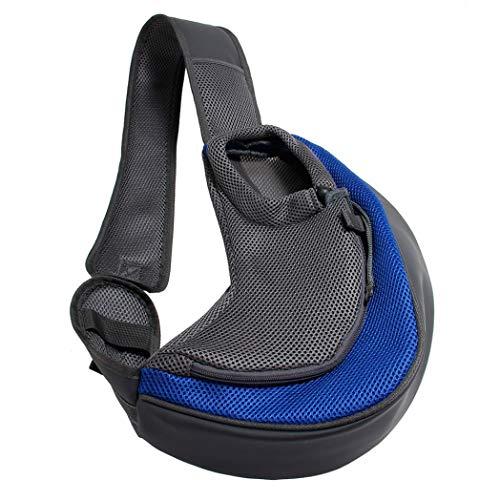 BreTT1QIN9 Pet Puppy Dog Carrier Outdoor Travel Single Shoulder Bag Mesh Pouch Handbag - Deep Blue L