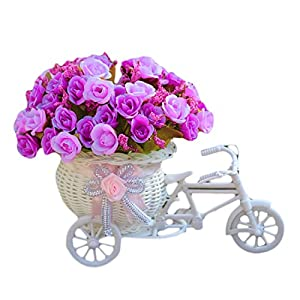 Voberry Home Decorative Furnishing Floats [Bicycle Basket] [Mini Bike] Rose Flowers Tricycle Plant Stand 60
