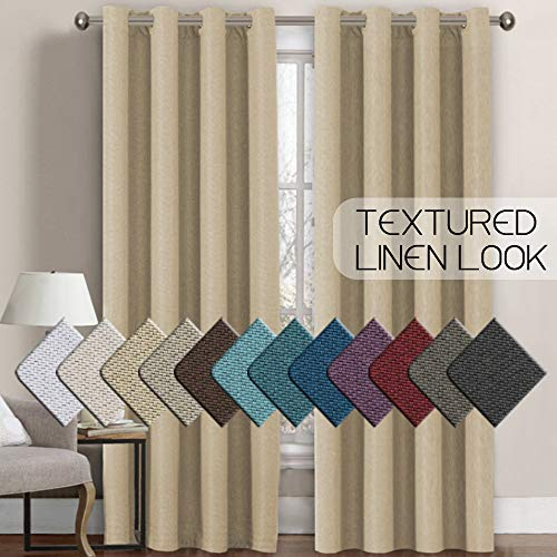 H.VERSAILTEX Linen Curtains Room Darkening Light Blocking Thermal Insulated Heavy Weight Textured Rich Linen Burlap Curtains for Bedroom/Living Room Curtain, 52 by 84 Inch - Beige (1 Panel)