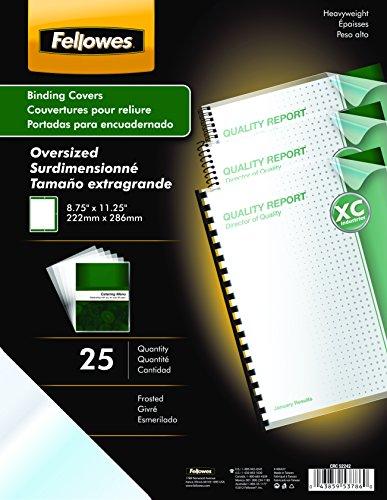 Fellowes Futura Premium Heavyweight Presentation Covers, Oversize, Frosted, 25 Pack (5224201) (Futura Cover)