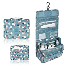 ZOONAI® Toiletry Bag For Women - Portable Hanging Personal Organizer Bag - Perfect for Travel/Outdoor (Blue)