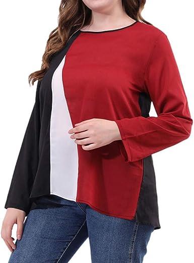 Camiseta de Mujer Manga Larga Elegante Moda Patchwork Blusa Tallas Grandes Camisa Cuello Redondo Camiseta Suelto Otoño Tops Casual Fiesta T-Shirt Original Vestido Sudadera Tumblr Rebajas vpass: Amazon.es: Ropa y accesorios