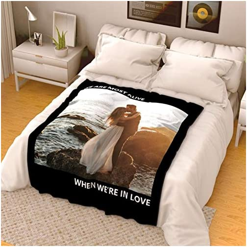 Personalized Throw Blanket with Photos Custom Your Photo Blankets Text Names Pictures Printing Super Soft Flannel… |
