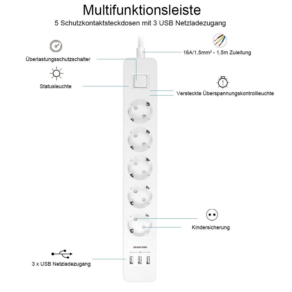 Elbe Prise pour plan de travail 3 Prises 2 USB Norme allemande Prise  cuisine plan de fe15abc84e3c