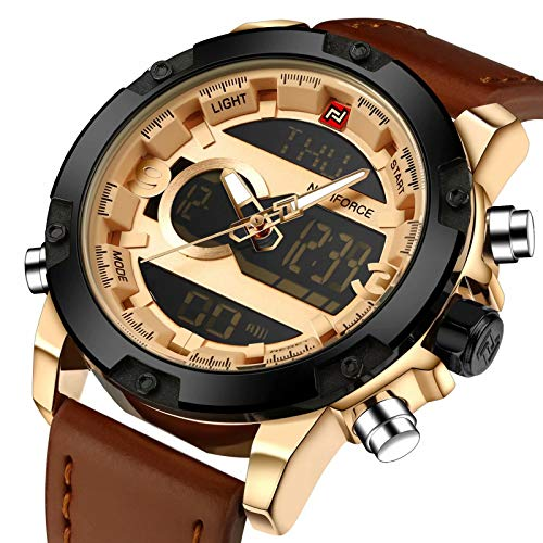 Tonnier Genuine Leather Band Analog Digital LED Dual Time Display Mens Watch, Brown&Gold