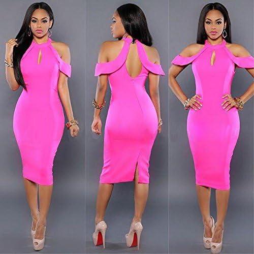 VU*LK Frauen Rosa im westlichen Stil trägerlosen Stretch hip Kleid