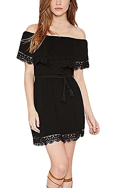 b314bb931d4acd Battercake Damen Cocktailkleid Abschlusskleid Baumwolle Elegant Off  Schulter mit Spitze Mini Kurz Casual Frauen Kleider Rüschen