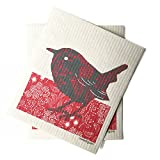 kitchen towels made in usa - Sweetgum Swedish Dishcloth, Eco-Friendly, Reusable and Compostable - Bird, Set of 2