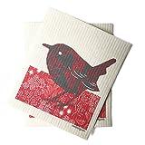 sweetgum Swedish Dishcloth, Bird, Eco-Friendly, Set of 2, Red/Black