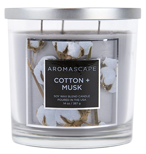 Aromascape 3-Wick Scented Jar Candle, Cotton & Musk -