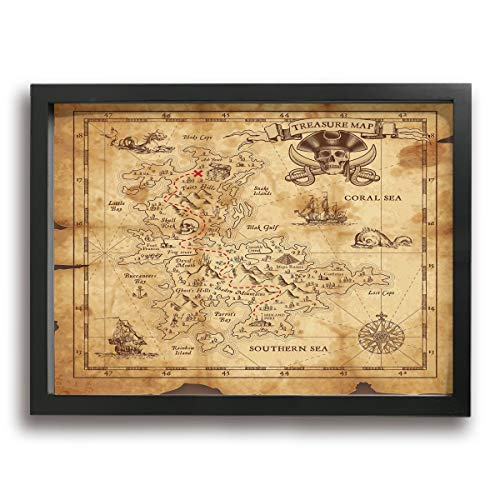 Super Detailed Treasure Map Grungy Rustic Pirates Modern Giclee Canvas Print Framed Artwork Pictures Paintings On Wall Art for Home Office Decorations Wall Decor