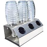 KT 3er Abtropfhalter mit Abtropfschale aus Edelstahl für z.B. Sodastream Crystal inkl. Deckelhalterung