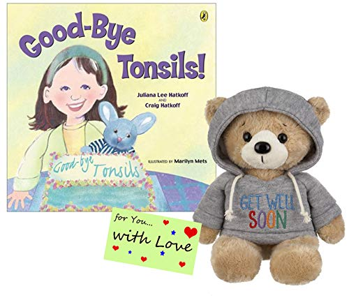 Tonsillectomy Gift :Ganz Get Well Soon Teddy Bear with a Blue Hoodie with Good-Bye Tonsils Book Gift Set