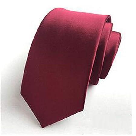 xqzs Color sólido Corbata pequeña Masculina 6cm versión Estrecha ...