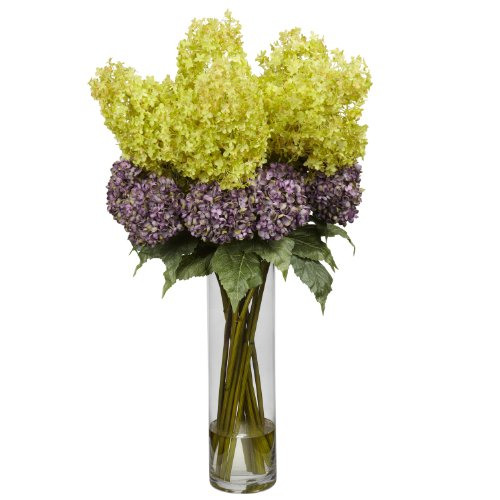 Nearly Natural 1222 Giant Hydrangea Silk Flower Arrangement, Mixed ()