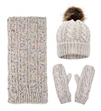 Women Fashion Winter Warm Knit Scarf and Hat Set Skull Caps Winter Set,Mix Beige