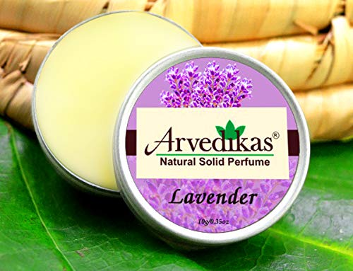 Arvedikas Natural Solid Perfume Beeswax/Mini Jar/Essential Oil Blend Perfume/Organic Vegan Travel Perfume/Scented Balm/Skin Friendly/Alcohol Free/Body Musk 10gm (29 Varieties) (Lavender) - Blossom Perfume Cherry Solid