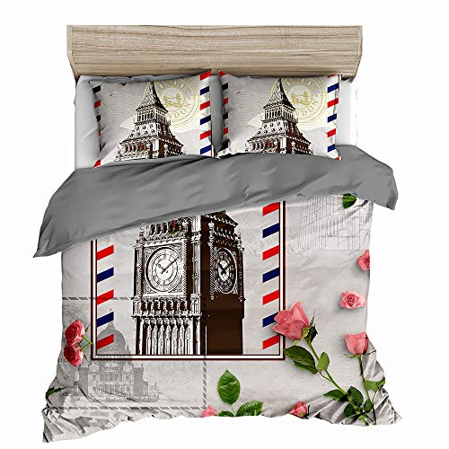 Feelyou Modern Duvet Cover Set Full Size Famous London Themed Bedding Cover The Big Ben Print City Scenery Comforter Cover Soft Microfiber Polyester Quilt Cover with 2 Pillow Shams, Zipper, 3 Pcs (London Themed Duvet Covers)