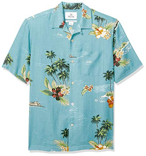 28 Palms Men's Relaxed-Fit Silk/Linen Tropical Hawaiian Shirt, Dark Aqua Scenic, Small