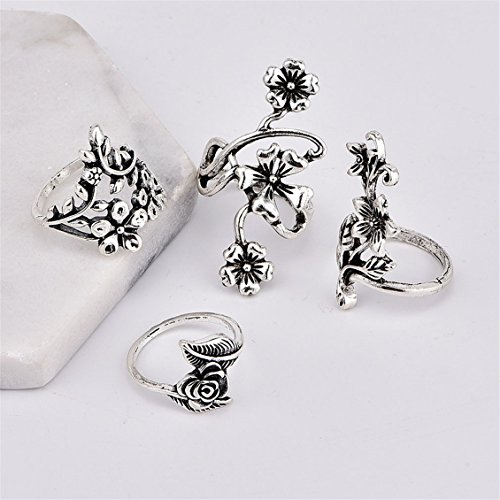 Dolland Vintage Knuckle Ring Set Rhinestone Joint Knuckle Nail Ring Set by Dolland (Image #3)