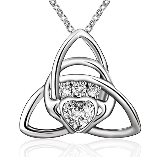 Sterling Silver Irish Celtic Knot Triangle Love Heart Claddagh Pendant Necklace,18''