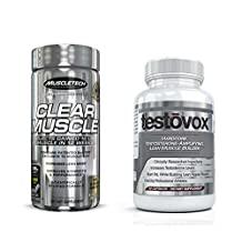 Clear Muscle (168 Capsules) & Testovox (60 Capsules) - Most Advanced Muscle & Strength Building Combo. High Performance Bodybuilding Supplement Stack