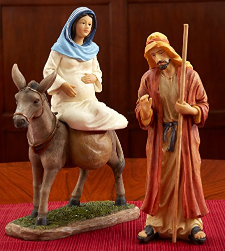 THREE KINGS GIFTS THE ORIGINAL GIFTS OFCHRISTMAS 7 inch Scale Traveling Holy Family to Bethlehem Resin Stone Christmas Figurine Set of 3