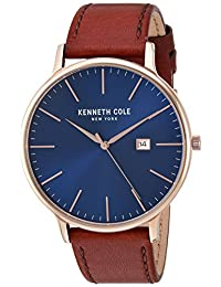 Kenneth Cole New York Men's 'Classic' Quartz Stainless Steel and Leather Dress Watch, Color:Brown (Model: KC15059007)