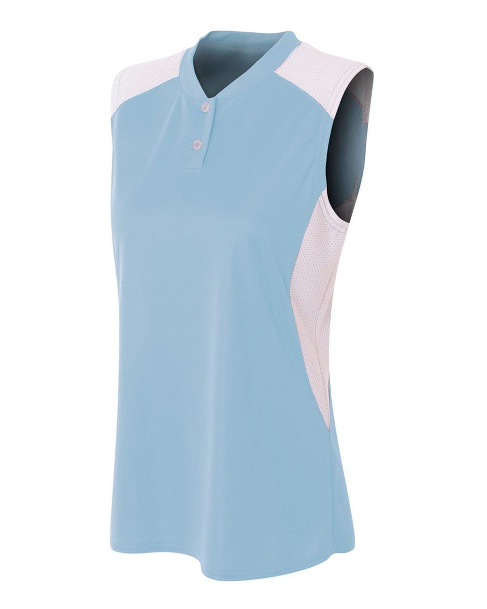 レディースノースリーブ2ボタンMoisture Wicking 2色アスレチックシャツ/ Uniform Jersey Top B01IC9PBU4ライトブルー/ホワイト Women's M