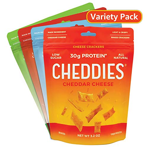 Cheddies 30g Protein Per Bag, All Natural, Low Sugar, Guilt Free, Real Cheddar, Healthy Snack (Variety Pack, Pack of 4)