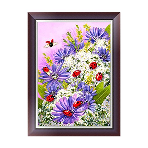 (Techinal 5D Diamond Embroidery Painting Cross Stitch Flower Ladybug DIY Art Craft For Home Decro Birthday Gift)