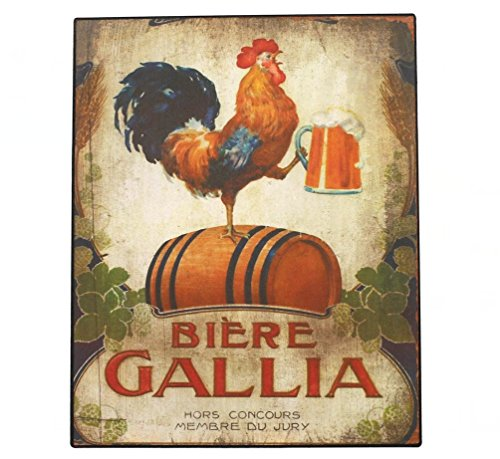 Rooster Wall Plaque - Happy Chickens, Rooster and Beer Metal Plate Sign, Vintage Plaque Poster Kitchen Bar Pub Home Wall Decor