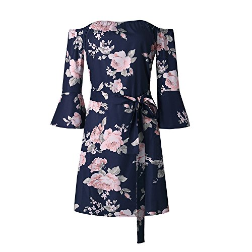 9f9eb636d20 SVALIY Women Off Shoulder Ruffles Floral Tunic Casual Party Shift Short  Dress Navy S