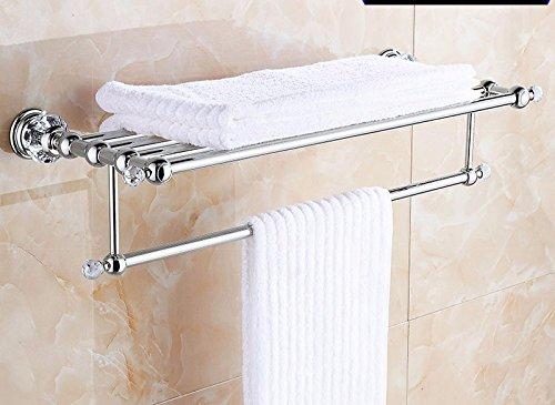 GGHYYO Towel shelf shower room kitchen Shelf Crystal Holder Jade Stone Steel Pipe Silver Color