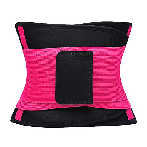 VENUZOR Waist Trainer Belt for Women - Waist Cincher Trimmer - Slimming Body Shaper Belt - Sport Girdle Belt (UP Graded) (Large, Fluorescence Pink) by VENUZOR (Image #4)