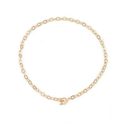 XiangRuima Collar Collar de Cadena Ovalada Hueca de Metal ...