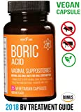 Fast Relief VEGAN Capsule Boric Acid Vaginal Suppositories 600Mg 25ct Bottle plus BONUS EBook