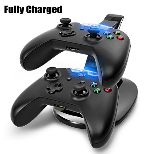 Dual USB Charging Station, Joso LED light Fast Two Charging Charge Dock Stand with USB Charge Cable for Microsoft Xbox One XBox1 Gaming Controllers